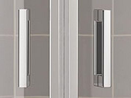 Kermi Čtvrtkruh Cada XS P55 08020 775-800/2000 stříbrná vys.lesk ESG čiré Clean Čtvrtkruh (kyvné dveře s pevnými poli) (CCP5508020VPK)
