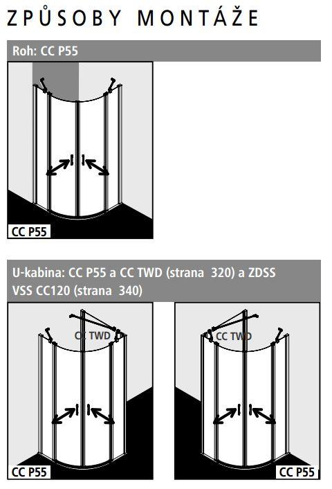 Kermi Čtvrtkruh Cada XS P55 09020 875-900/2000 stříbrná vys.lesk ESG čiré Clean Čtvrtkruh (kyvné dveře s pevnými poli) (CCP5509020VPK)