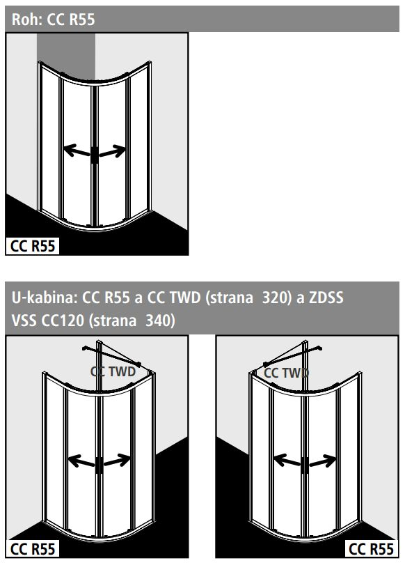 Kermi Čtvrtkruh Cada XS R55 08020 775-800/2000 bílá ESG čiré Clean Čtvrtkruh (posuvné dveře)  (CCR55080202PK)