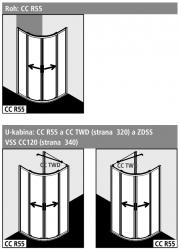 Kermi Čtvrtkruh Cada XS R55 08020 775-800/2000 bílá ESG čiré Clean Čtvrtkruh (posuvné dveře)  (CCR55080202PK), fotografie 2/6