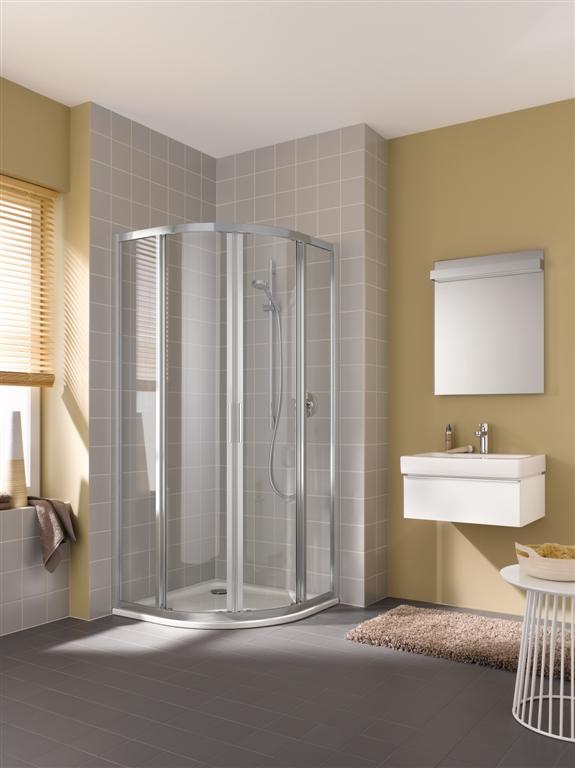 Kermi Čtvrtkruh Cada XS R55 08020 775-800/2000 stříbrná vys.lesk ESG čiré Clean Čtvrtkruh (posuvné dveře) (CCR5508020VPK)