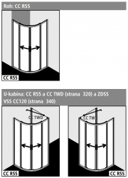 Kermi Čtvrtkruh Cada XS R55 08020 775-800/2000 stříbrná vys.lesk ESG čiré Clean Čtvrtkruh (posuvné dveře)  (CCR5508020VPK), fotografie 2/6