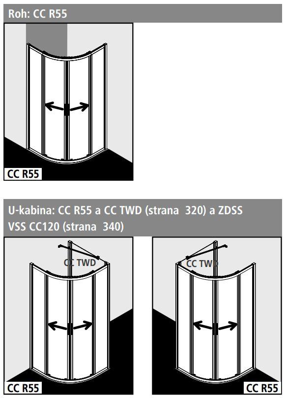 Kermi Čtvrtkruh Cada XS R55 10120 975-1000/2000 stříbrná vys.lesk ESG čiré Clean Čtvrtkruh (posuvné dveře)  (CCR5510120VPK)