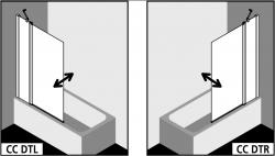 Kermi Otočné křídlo Cada XS DTR 10516 1030-1055/1600 stříbrná vys.lesk Serig.CC Clean Otočné křídlo spevným polem na vaně - upevnění vpravo (CCDTR10516VVK), fotografie 2/6