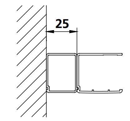 Kermi rozšir. profil Cada XS SVSV1 Höhe 2000 mm stříbrná vys.lesk   (ZDSVSV1CC200VK)