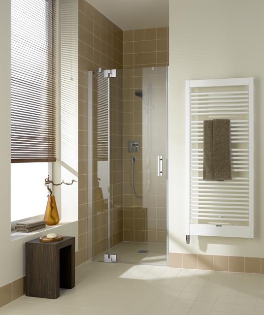 Kermi Kyvné dveře Filia XP 1TR 13020 1280-1310/2000 stříbrná vys.lesk ESG čiré Clean 1-křídlé kyvné dveře s p. polem panty vpravo (FX1TR13020VPK)