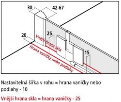 Kermi Kyvné dveře Filia XP 1WR 13020 1275-1300/2000 stříbrná vys.lesk ESG čiré Clean 1-křídlé kyvné dveře s p. polem pro boční stěnu/zkrácenou boční stěnu (FX1WR13020VPK), fotografie 10/8