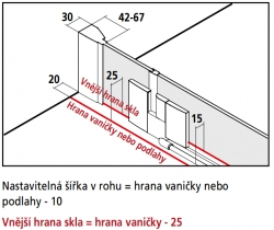 KERMI - FILIA XP / Jednokřídlé kyvné dveře s pevným polem vlevo, pro boční stěnu (FX1WL07820VPK), fotografie 10/8