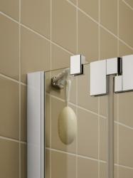 Kermi Kyvné dveře Filia XP 1WR 09320 885-910/2000 stříbrná vys.lesk ESG čiré Clean 1-křídlé kyvné dveře s p. polem pro boční stěnu/zkrácenou boční stěnu (FX1WR09320VPK), fotografie 4/8