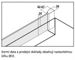 Kermi Boční stěna Filia XP TVD 07517 725-750/1750 stříbrná vys.lesk ESG čiré Clean boční stěna zkrácená vedle vany  (FXTVD07517VPK), fotografie 4/4