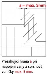 Kermi Boční stěna Filia XP TVD 07517 725-750/1750 stříbrná vys.lesk ESG čiré Clean boční stěna zkrácená vedle vany  (FXTVD07517VPK), fotografie 8/4