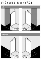 Kermi Boční stěna Filia XP TVD 08017 775-800/1750 stříbrná vys.lesk ESG čiré Clean boční stěna zkrácená vedle vany  (FXTVD08017VPK), fotografie 2/4