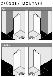 Kermi Boční stěna Filia XP TVD 09017 875-900/1750 stříbrná vys.lesk ESG čiré Clean boční stěna zkrácená vedle vany  (FXTVD09017VPK), fotografie 2/4