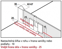 Kermi Kyvné dveře Filia XP 1GR 12020 1160-1210/2000 stříbrná vys.lesk ESG čiré Clean 1-křídlé kyvné dveře s p. poli panty vpravo (FX1GR12020VPK), fotografie 10/8