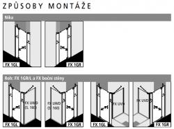 Kermi Kyvné dveře Filia XP 1GR 13020 1260-1310/2000 stříbrná vys.lesk ESG čiré Clean 1-křídlé kyvné dveře s p. poli panty vpravo (FX1GR13020VPK), fotografie 6/8