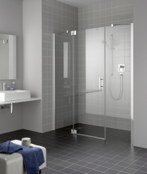 Kermi Kyvné dveře Filia XP 1GR 12320 1180-1218/2000 stříbrná vys.lesk ESG čiré Clean 1-křídlé kyvné dveře s p. poli panty vpravo (FX1GR12320VPK)