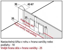 Kermi Kyvné dveře Filia XP 1GR 12320 1180-1218/2000 stříbrná vys.lesk ESG čiré Clean 1-křídlé kyvné dveře s p. poli panty vpravo (FX1GR12320VPK), fotografie 10/8