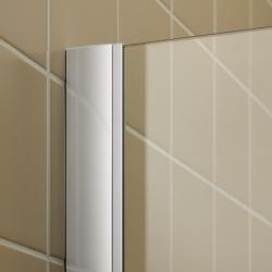 Kermi Kyvné dveře Filia XP 1GR 14320 1380-1418/2000 stříbrná vys.lesk ESG čiré Clean 1-křídlé kyvné dveře s p. poli panty vpravo (FX1GR14320VPK), fotografie 2/8