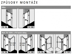 Kermi Kyvné dveře Filia XP 1GR 15320 1480-1518/2000 stříbrná vys.lesk ESG čiré Clean 1-křídlé kyvné dveře s p. poli panty vpravo (FX1GR15320VPK), fotografie 6/8