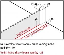 Kermi Boční stěna Filia XP UWD 07820 735-760/2000 stříbrná vys.lesk ESG čiré Clean boční pro 1-křídlé kyvné dveře s pevnými poli (FXUWD07820VPK), fotografie 4/4