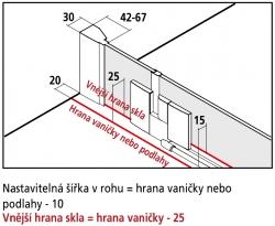 Kermi Rohový vstup Filia XP EPR 07520 725-750/2000 stříbrná vys.lesk ESG čiré Clean Rohový vstup 2-dílný kyvné dveře s pevnými poli (FXEPR07520VPK), fotografie 10/8