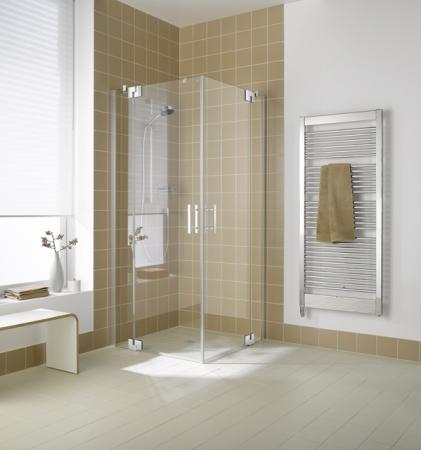 Kermi Rohový vstup Filia XP EPL 09020 875-900/2000 stříbrná vys.lesk ESG čiré Clean Rohový vstup 2-dílný kyvné dveře s pevnými poli (FXEPL09020VPK)