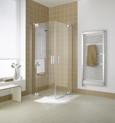 Kermi Rohový vstup Filia XP EPL 10320 985-1010/2000 stříbrná vys.lesk ESG čiré Clean Rohový vstup 2-dílný kyvné dveře s pevnými poli (FXEPL10320VPK)