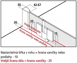 Kermi Rohový vstup Filia XP EPL 12320 1185-1210/2000 stříbrná vys.lesk ESG čiré Clean Rohový vstup 2-dílný kyvné dveře s pevnými poli (FXEPL12320VPK), fotografie 10/8