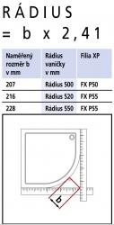 Kermi Čtvrtkruh Filia XP P50 10020 975-1000/2000 stříbrná vys.lesk ESG čiré Clean Čtvrtkruhový sprch. kout kyvné dveře s pevnými poli (FXP5010020VPK), fotografie 18/9