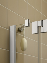 Kermi Čtvrtkruh Filia XP P55 10120 975-1000/2000 stříbrná vys.lesk ESG čiré Clean Čtvrtkruhový sprch. kout kyvné dveře s pevnými poli (FXP5510120VPK), fotografie 4/9