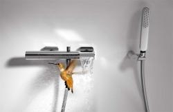 TRES - Jednopáková baterie pro vanu-sprchus kaskádou. Ruční sprcha snastavitelným držákem, proti usaz. vod. kamene a flexi ha (20017001), fotografie 2/3