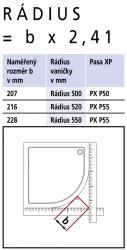 Kermi Čtvrtkruh Pasa XP P50 09018 870-900/1850 stříbrná matná ESG čiré Čtvrtkruhový sprch. kout kyvné dveře s pevnými poli (PXP50090181AK), fotografie 14/7