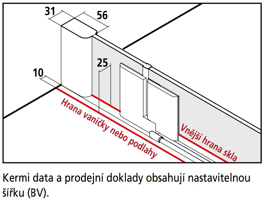 Kermi Čtvrtkruh Pasa XP P55 09018 870-900/1850 stříbrná matná ESG čiré Čtvrtkruhový sprch. kout kyvné dveře s pevnými poli (PXP55090181AK)