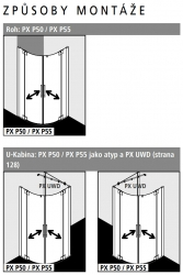 Kermi Čtvrtkruh Pasa XP P50 10018 970-1000/1850 stříbrná matná ESG čiré Čtvrtkruhový sprch. kout kyvné dveře s pevnými poli (PXP50100181AK), fotografie 6/7