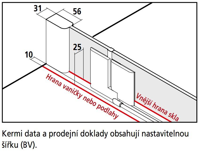 Kermi Čtvrtkruh Pasa XP P55 10118 970-1000/1850 stříbrná matná ESG čiré Čtvrtkruhový sprch. kout kyvné dveře s pevnými poli (PXP55101181AK)