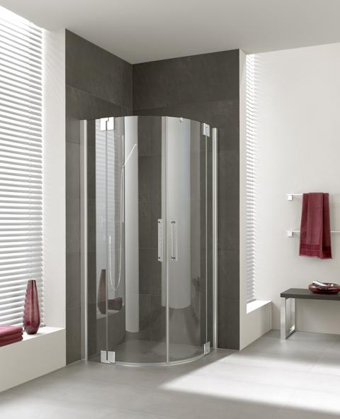 Kermi Čtvrtkruh Pasa XP P50 09020 870-900/2000 stříbrná matná ESG čiré Čtvrtkruhový sprch. kout kyvné dveře s pevnými poli (PXP50090201AK)