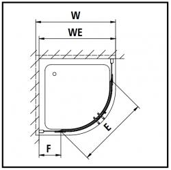 Kermi Čtvrtkruh Pasa XP P55 09020 870-900/2000 stříbrná matná ESG čiré Čtvrtkruhový sprch. kout kyvné dveře s pevnými poli (PXP55090201AK), fotografie 12/7