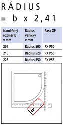 Kermi Čtvrtkruh Pasa XP P50 09020 870-900/2000 stříbrná vys.lesk ESG čiré Čtvrtkruhový sprch. kout kyvné dveře s pevnými poli (PXP5009020VAK), fotografie 14/7