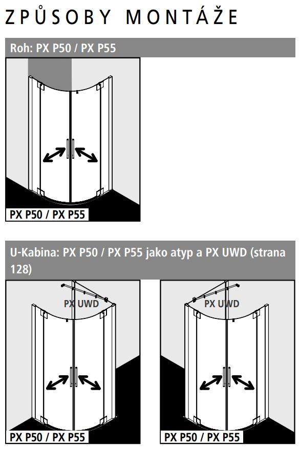 Kermi Čtvrtkruh Pasa XP P50 09018 870-900/1850 stříbrná matná ESG čiré Clean Čtvrtkruhový sprch. kout kyvné dveře s pevnými poli (PXP50090181PK)