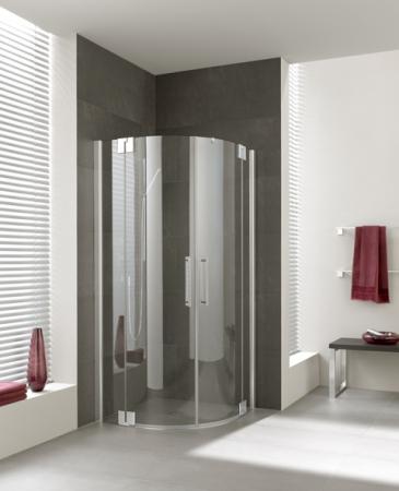 Kermi Čtvrtkruh Pasa XP P55 09020 870-900/2000 stříbrná matná ESG čiré Clean Čtvrtkruhový sprch. kout kyvné dveře s pevnými poli (PXP55090201PK)