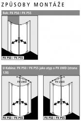 Kermi Čtvrtkruh Pasa XP P55 09020 870-900/2000 stříbrná matná ESG čiré Clean Čtvrtkruhový sprch. kout kyvné dveře s pevnými poli (PXP55090201PK), fotografie 6/7