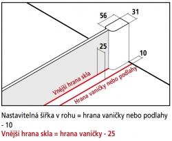 Kermi Boční stěna Pasa XP UWD 09018 870-900/1850 stříbrná vys.lesk ESG čiré b.stěna pro 1-křídlé kyvné dveře s pevnými poli (PXUWD09018VAK), fotografie 4/3