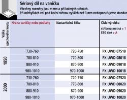 Kermi Boční stěna Pasa XP UWD 09018 870-900/1850 stříbrná vys.lesk ESG čiré b.stěna pro 1-křídlé kyvné dveře s pevnými poli (PXUWD09018VAK), fotografie 6/3