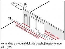 Kermi Kyvné dveře Pasa XP 1TR 07518 725-760/1850 stříbrná matná ESG čiré 1-křídlé kyvné dveře s p. polem panty vpravo (PX1TR075181AK), fotografie 10/11