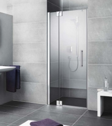 Kermi Kyvné dveře Pasa XP 1TR 14020 1375-1410/2000 stříbrná matná ESG čiré 1-křídlé kyvné dveře s p. polem panty vpravo (PX1TR140201AK)