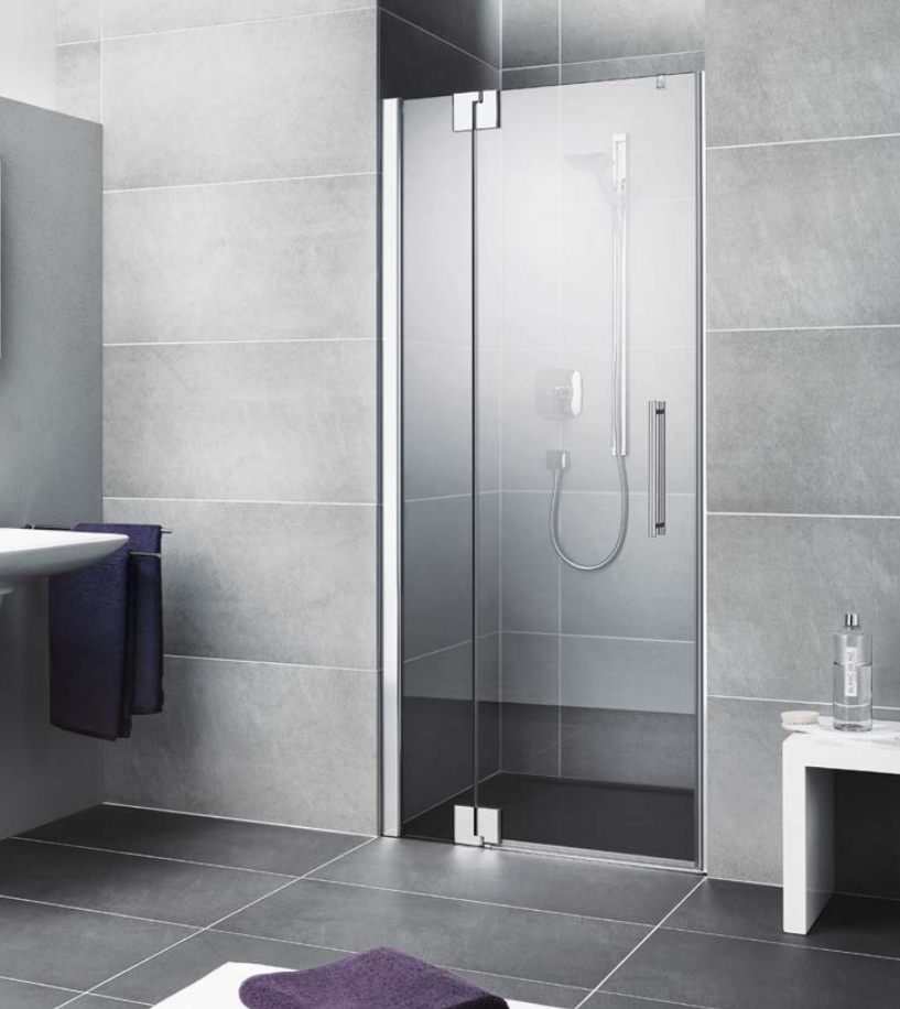 Kermi Kyvné dveře Pasa XP 1TR 10018 975-1010/1850 stříbrná matná ESG čiré Clean 1-křídlé kyvné dveře s p. polem panty vpravo (PX1TR100181PK)