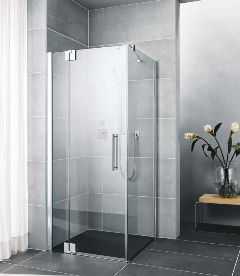 Kermi Kyvné dveře Pasa XP 1WR 08018 770-800/1850 stříbrná matná ESG čiré Clean 1-křídlé kyvné dveře s p. polem pro boční stěnu/zkrácenou boční stěnu PX1WR080181PK