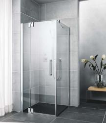 Kermi Kyvné dveře Pasa XP 1WR 08018 770-800/1850 stříbrná matná ESG čiré Clean 1-křídlé kyvné dveře s p. polem pro boční stěnu/zkrácenou boční stěnu (PX1WR080181PK)