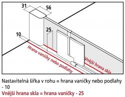 Kermi Kyvné dveře Pasa XP 1WR 09018 870-900/1850 stříbrná vys.lesk ESG čiré Clean 1-křídlé kyvné dveře s p. polem pro boční stěnu/zkrácenou boční stěnu (PX1WR09018VPK), fotografie 6/9