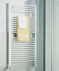 KERMI B-20 RM, koupelnový radiátor zahnutý, se středovým připojením 800x450mm, bílá